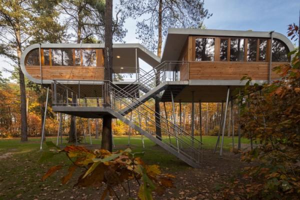 Дом стоит на 19 стальных сваях, и почти не воздействует на лесной покров