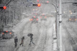 Транспортный коллапс в столице Японии вызвал мощный снегопад