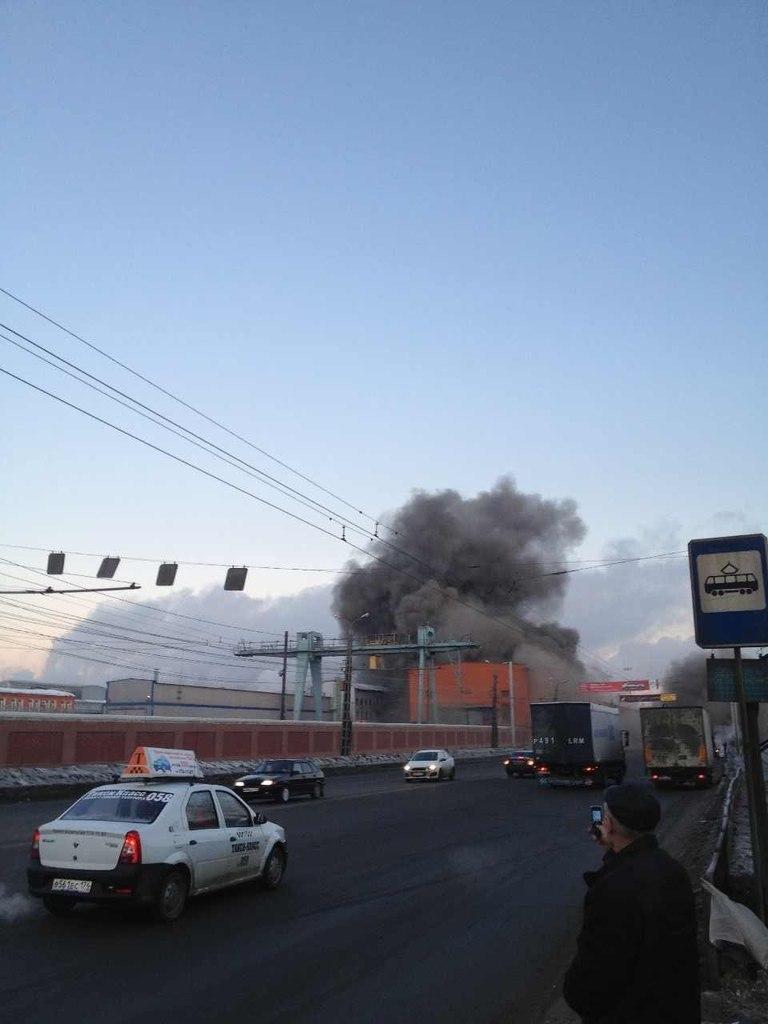 Пожар на цинковом заводе, вызванный попаданием метеорита