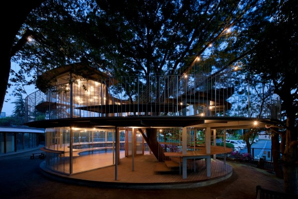 Детский сад вокруг дерева