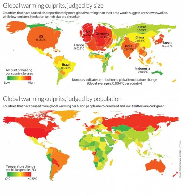 карта соотношения степени вины в глобальном потеплении государств