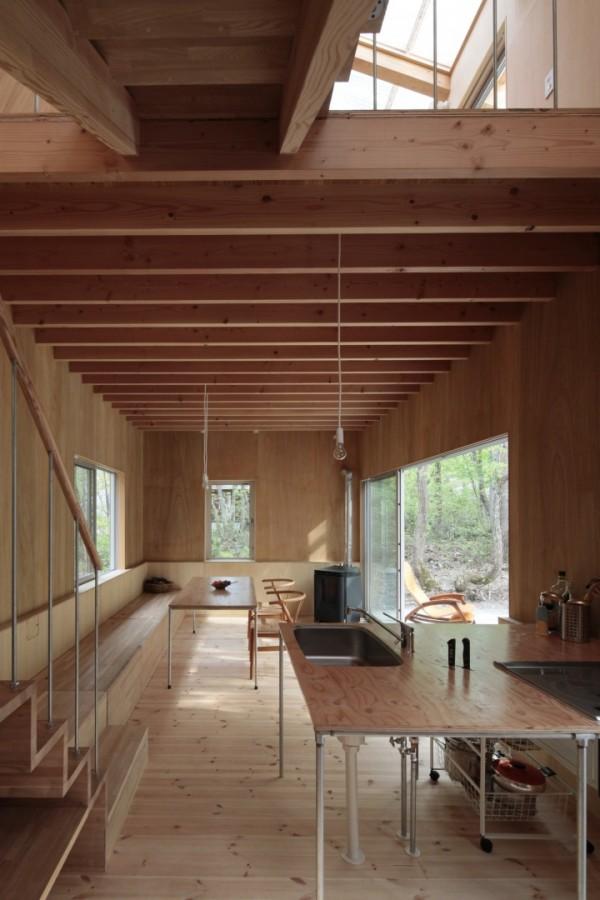 Вилла с прозрачной крышей в лесу