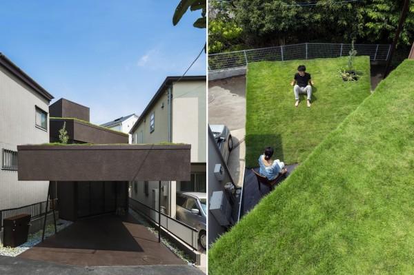 Черный дом с зеленой крышей