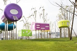 Красочный парк в Шанхае работает на ветроэнергетике