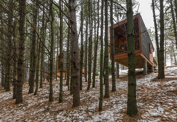 Деревянные домики для туристов в лесопарке Миннеаполиса